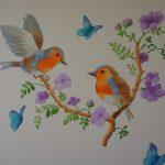 Vogeltjes muurschildering