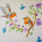Vogeltjes-muurschildering-roodborstjes