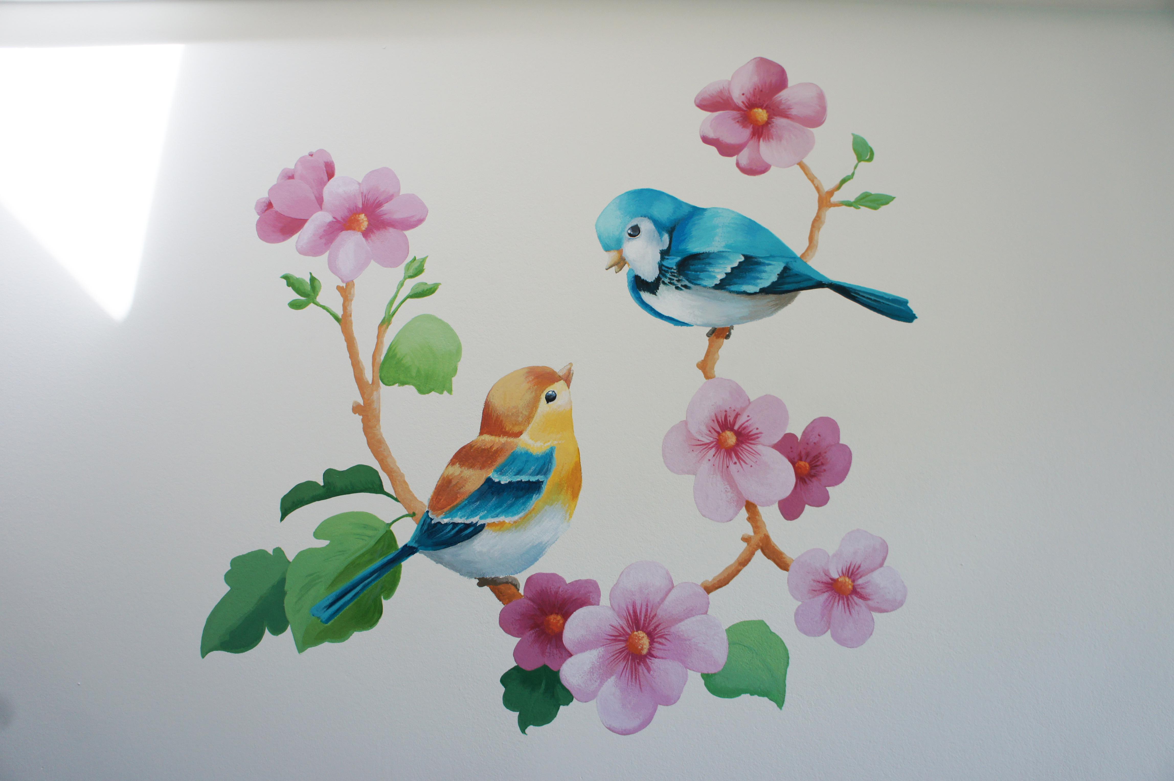 Vogeltjes-muurschildering