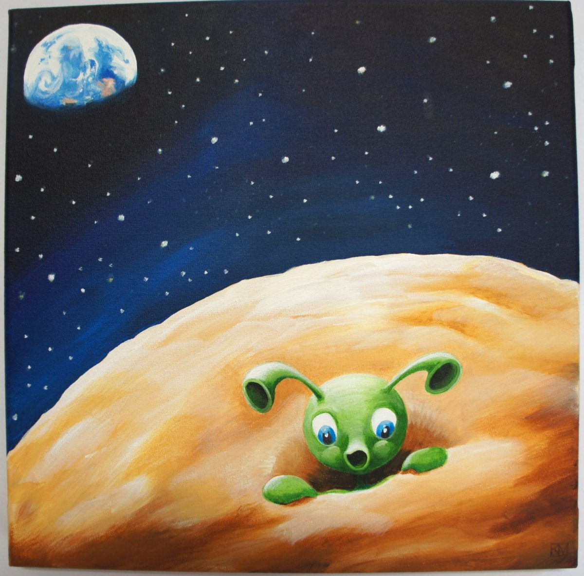 Het mannetje op de maan, geïnspireerd door een gedicht van Geert Delanghe