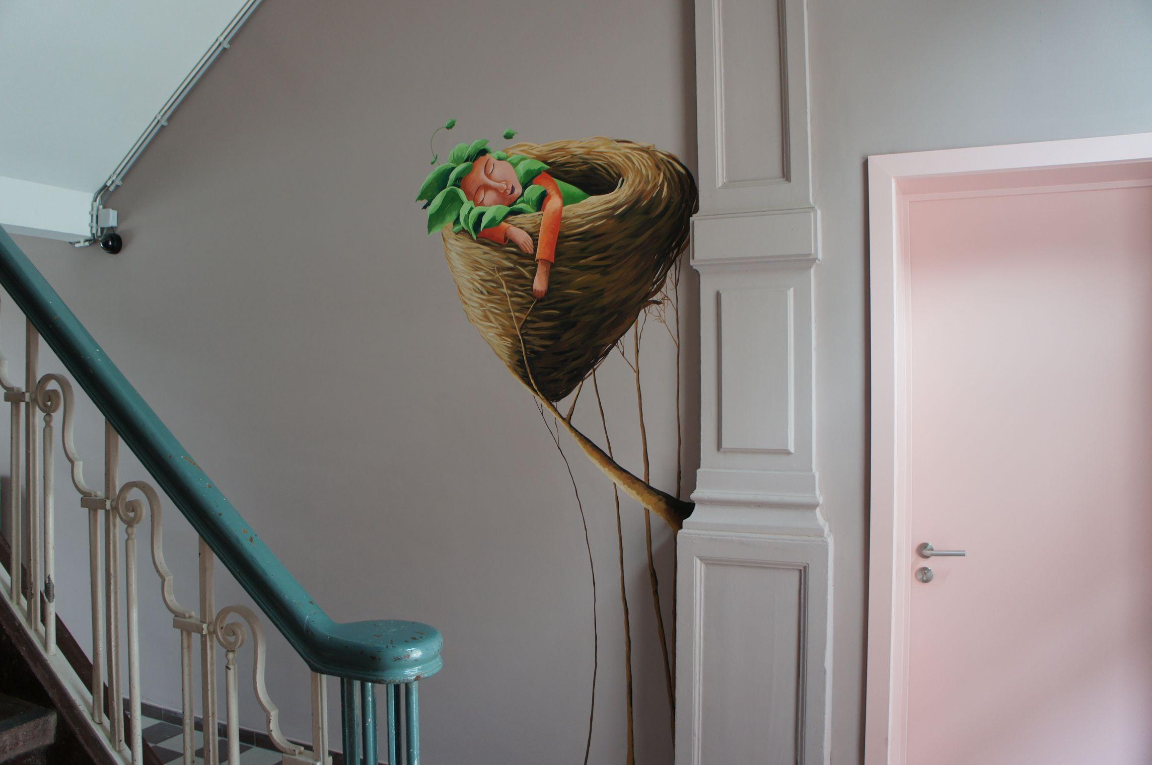 Muurzicht, 'kind in nestje' - 210 euro