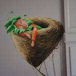 Muurschildering – Kind in nestje – 210 euro